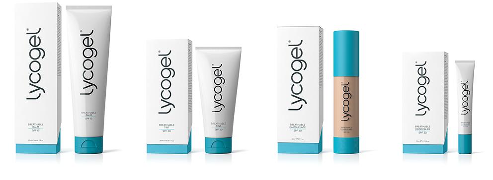 Afbeeldingen van producten van het merk Lycogel die door Esthetiek Huidtherapie worden gebruikt.